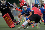GER - Mannheim, Germany, October 09: During the men hockey match between Mannheimer HC (blue) and TSV Mannheim (red) on October 9, 2016 at Mannheimer HC in Mannheim, Germany. Final score 4-3 (HT 1-1). (Photo by Dirk Markgraf / www.265-images.com) *** Local caption *** (L-R) Andreas Spaeck #1 of Mannheimer HC, Tomas Prochazka #5 of Mannheimer HC