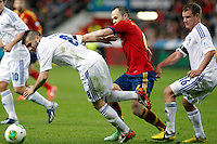 Spain's Andres Iniesta (c) and Finland's Hetemaj (l) and Tainio during international match of the qualifiers for the FIFA World Cup Brazil 2014.March 22,2013.(ALTERPHOTOS/Victor Blanco)