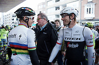 "pre-race pleasantries (or was it race tactics? ""We go on the Kemmelberg, hé?""...) between Peter Sagan (SVK/Tinkoff) & Fabian Cancellara (SUI/Trek-Segafredo)<br /> <br /> 78th Gent - Wevelgem in Flanders Fields (1.UWT)"