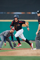 Rochester Red Wings right fielder Jon Kremmer (23) runs the bases during a game against the Lehigh Valley IronPigs on September 1, 2018 at Frontier Field in Rochester, New York.  Lehigh Valley defeated Rochester 2-1.  (Mike Janes/Four Seam Images)