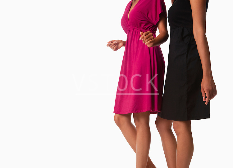 USA, California, Fairfax, Midsection of two women against white background