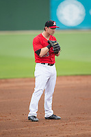 Kannapolis Intimidators third baseman Chris Curley (13) on defense against the Hickory Crawdads at CMC-Northeast Stadium on April 17, 2015 in Kannapolis, North Carolina.  The Crawdads defeated the Intimidators 9-5 in game one of a double-header.  (Brian Westerholt/Four Seam Images)