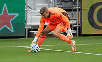 LOS ANGELES, CA - OCTOBER 25: Jonathan Klinsmann #33 goalkeeper of the Los Angeles Galaxy scooping a ball during a game between Los Angeles Galaxy and Los Angeles FC at Banc of California Stadium on October 25, 2020 in Los Angeles, California.
