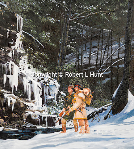 """Early Indian traders John Hart and Stephen Franks exploring and trailblazing the Pennsylvania winter wilderness at Trough Creek near present day Raystown Dam and Entriken, PA. Oil on canvas, 30"""" x 27""""."""
