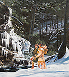 "Early Indian traders John Hart and Stephen Franks exploring and trailblazing the Pennsylvania winter wilderness at Trough Creek near present day Raystown Dam and Entriken, PA. Oil on canvas, 30"" x 27""."