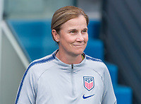 PARIS,  - JUNE 28: Jill Ellis waits for the game to begin during a game between France and USWNT at Parc des Princes on June 28, 2019 in Paris, France.