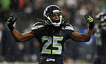 SEATTLE, WA. - DECEMBER 23: Cornerback Richard Sherman #25 of the Seattle Seahawks celebrates a tackle during the fourth quarter of the game against the San Francisco 49ers at CenturyLink Field on December 23, 2012 in Seattle,Wa. The Seahawks won the game 42-13. (Photo by Steve Dykes/Getty Images) *** Local Caption *** Richard Sherman