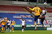 Bolton Wanderers' Liam Gordon competing with Mansfield Town's Jordan Bowery (left) in the penalty area<br /> <br /> Photographer Andrew Kearns/CameraSport<br /> <br /> The EFL Sky Bet League Two - Bolton Wanderers v Mansfield Town - Tuesday 3rd November 2020 - University of Bolton Stadium - Bolton<br /> <br /> World Copyright © 2020 CameraSport. All rights reserved. 43 Linden Ave. Countesthorpe. Leicester. England. LE8 5PG - Tel: +44 (0) 116 277 4147 - admin@camerasport.com - www.camerasport.com