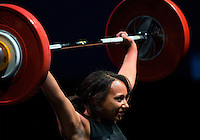 10 MAY 2014 - COVENTRY, GBR - Zoe Smith from Europa / KBT Weightlifting attempts to hold a lift during the women's 63kg category round at the British 2014 Senior Weightlifting Championships and final 2014 Commonwealth Games qualifying event round at the Ricoh Arena in Coventry, Great Britain. Smith, with a combined total for the event of 200kg and having reached the qualifying criteria in her usual 58kg category at the English Championships in February, is eligible for selection for the England team for the 2014 Commonwealth Games in two categories (PHOTO COPYRIGHT © 2014 NIGEL FARROW, ALL RIGHTS RESERVED)