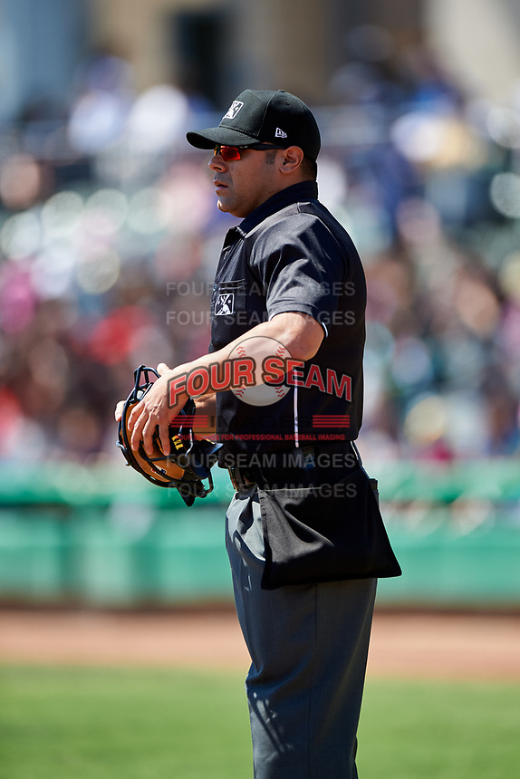 Home plate umpire Joe Gonzalez during a California League game between the Rancho Cucamonga Quakes and the Stockton Ports at Banner Island Ballpark on May 17, 2018 in Stockton, California. Stockton defeated Rancho Cucamonga 2-1. (Zachary Lucy/Four Seam Images)