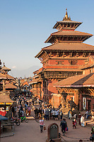 Nepal, Patan.  Entrance to Durbar Square, Royal Palace Tall Building on Right. February 19, 2009, prior to earthquake of April 25, 2015.