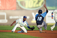 Hartford Yard Goats second baseman Juan Ciriaco (2) puts the tag on Dustin Fowler (10) sliding into second during the second game of a doubleheader against the Trenton Thunder on June 1, 2016 at Sen. Thomas J. Dodd Memorial Stadium in Norwich, Connecticut.  Trenton defeated Hartford 2-1.  (Mike Janes/Four Seam Images)