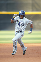 Wander Franco (6) of the Princeton Rays legs out a triple during the game against the Pulaski Yankees at Calfee Park on July 14, 2018 in Pulaski, Virginia. The Rays defeated the Yankees 13-1.  (Brian Westerholt/Four Seam Images)