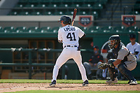 Detroit Tigers Andre Lipcius (41) bats in front of catcher Eliezer Alfonzo (53) during a Florida Instructional League intrasquad game on October 24, 2020 at Joker Marchant Stadium in Lakeland, Florida.  (Mike Janes/Four Seam Images)