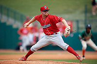 Lakewood BlueClaws relief pitcher Addison Russ (15) delivers a pitch during a game against the Greensboro Grasshoppers on June 10, 2018 at First National Bank Field in Greensboro, North Carolina.  Lakewood defeated Greensboro 2-0.  (Mike Janes/Four Seam Images)