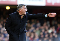 Pictured: Sam Allardyce, manager for West Ham, shouting instructions to his players from the touchline. 01 February 2014<br /> Re: Barclay's Premier League, West Ham United v Swansea City FC at Boleyn Ground, London.