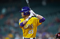 CJ Willis (23) of the LSU Tigers at bat against the Oklahoma Sooners in game seven of the 2020 Shriners Hospitals for Children College Classic at Minute Maid Park on March 1, 2020 in Houston, Texas. The Sooners defeated the Tigers 1-0. (Brian Westerholt/Four Seam Images)