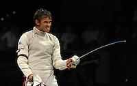 European Championships Fencing 2010 / Fecht Europameisterschaft 2010 in Leipzig - Competition Championat d'europe - im Bild: the new European Champion mens foil team - the Italian Team Andrea Baldini  does the last point  . Foto: Norman Rembarz..Norman Rembarz , Autorennummer 41043728 , Augustenstr. 2, 04317 Leipzig, Tel.: 01794887569, Hypovereinsbank: BLZ: 86020086, KN: 357889472, St.Nr.: 231/261/06432 - Jegliche kommerzielle Nutzung ist honorar- und mehrwertsteuerpflichtig! Persönlichkeitsrechte sind zu wahren. Es wird keine Haftung übernommen bei Verletzung von Rechten Dritter. Autoren-Nennung gem. §13 UrhGes. wird verlangt. Weitergabe an Dritte nur nach  vorheriger Absprache..