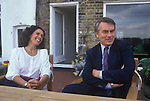 Dr  David Owen and wife Debbie. Politician 1980s England. On their Narrow Street Wapping apartment.