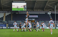 24th April 2021; Liberty Stadium, Swansea, Glamorgan, Wales; Rainbow Cup Rugby, Ospreys versus Cardiff Blues; Rhys Davies of Ospreys takes the lineout