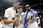 Real Madrid's Salah Mejri, Jonas Maciulis and Jonas Maciulis celebrates the victory in the Euroleague Final Match. May 15,2015. (ALTERPHOTOS/Acero)