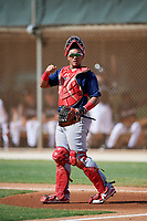 GCL Cardinals catcher Ivan Herrera (32) during a game against the GCL Marlins on August 4, 2018 at Roger Dean Chevrolet Stadium in Jupiter, Florida.  GCL Marlins defeated GCL Cardinals 6-3.  (Mike Janes/Four Seam Images)