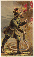 fireman with hosepipe / H W Petherick in 'Aunt Louisa's Welcome Gift' / ca 1870