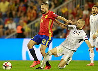 Spain's Jordi Alba (l) and Albania's Eros Grezda during FIFA World Cup 2018 Qualifying Round match. October 6,2017.(ALTERPHOTOS/Acero) /NortePhoto.com /NortePhoto.com