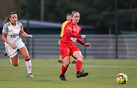 Stefanie Deville of Woluwe (3) gives a pass during a female soccer game between Oud Heverlee Leuven and Femina White Star Woluwe  on the 5 th matchday of the 2020 - 2021 season of Belgian Womens Super League , Sunday 18 th of October 2020  in Heverlee , Belgium . PHOTO SPORTPIX.BE | SPP | SEVIL OKTEM