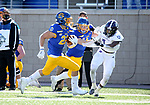 BROOKINGS, SD - APRIL 24: South Dakota State Jackrabbits running back Isaiah Davis #22 breaks loose for a 60 yard touchdown against the Holy Cross Crusaders at Dana J Dykhouse Stadium on April 24, 2021 in Brookings, South Dakota. (Photo by Dave Eggen/Inertia)