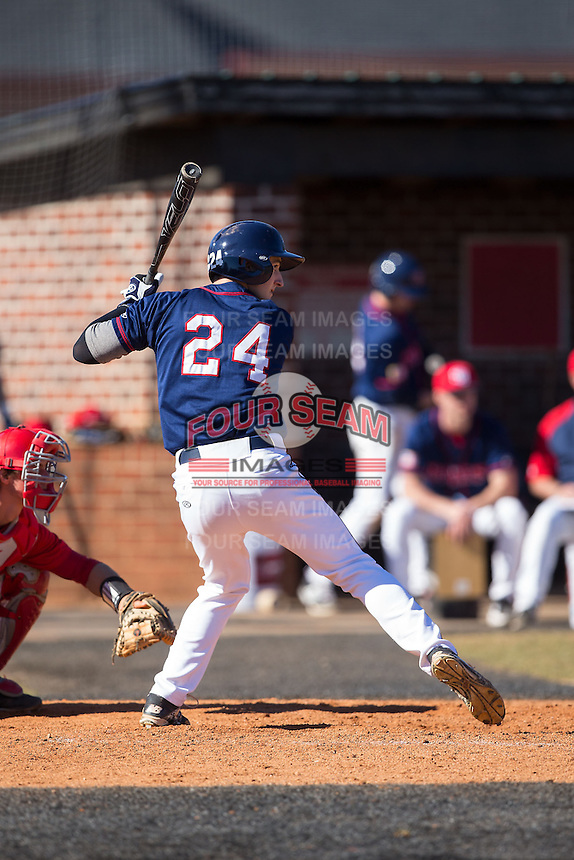 Vince Careghini (24) of the Shippensburg Raiders at bat against the Belmont Abbey Crusaders at Abbey Yard on February 8, 2015 in Belmont, North Carolina.  The Raiders defeated the Crusaders 14-0.  (Brian Westerholt/Four Seam Images)