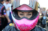 Jul. 1, 2012; Joliet, IL, USA: NHRA pro stock motorcycle rider Angie Smith during the Route 66 Nationals at Route 66 Raceway. Mandatory Credit: Mark J. Rebilas-