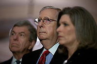 From left to right: United States Senator Roy Blunt (Republican of Missouri), United States Senate Majority Leader Mitch McConnell (Republican of Kentucky), and United States Senator Joni Ernst (Republican of Iowa) listen during a press conference following Republican Senate luncheons on Capitol Hill in Washington D.C., U.S., on Tuesday, November 5, 2019.<br />  <br /> Credit: Stefani Reynolds / CNP /MediaPunch