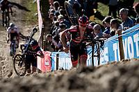 Laurens Sweeck (BEL/Pauwels Sauzen - Bingoal) emerging out of the infamous Zonhoven 'Pit' <br /> <br /> Elite Men's Race<br /> 2021 UCI cyclo-cross World Cup - Zonhoven (BEL)<br /> <br /> ©kramon
