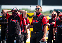 Aug 9, 2020; Clermont, Indiana, USA; Crew members for NHRA top fuel driver Steve Torrence react after winning the Indy Nationals at Lucas Oil Raceway. Mandatory Credit: Mark J. Rebilas-USA TODAY Sports