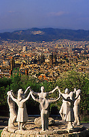 Barcelona, Catalunya/Catalonia.  Monument to the Sardana on Montjuic above the city. Spain.