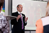Tim Sawyer of East Midlands Trains speaks at the Women in Trains conference held at Pride Park, Derby