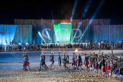 The Javae delegation marches during the closing event at the International Indigenous Games, in the city of Palmas, Tocantins State, Brazil. Photo © Sue Cunningham, pictures@scphotographic.com 31st October 2015