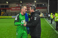 Fleetwood Town's goalkeeper Alex Cairns (1) with Fleetwood Town's manager Joey Barton  during the Sky Bet League 1 match between Fleetwood Town and Burton Albion at Highbury Stadium, Fleetwood, England on 15 December 2018. Photo by Stephen Buckley / PRiME Media Images.