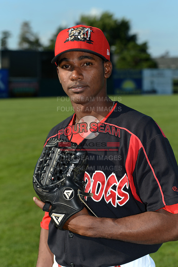 Batavia Muckdogs pitcher Jose Adames (3) poses for a photo before a game against the Williamsport Crosscutters on September 4, 2013 at Dwyer Stadium in Batavia, New York.  Williamsport defeated Batavia 6-3 in both teams season finale.  (Mike Janes/Four Seam Images)