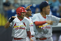 Jhon Torres (22) of the Johnson City Cardinals celebrates after scoring a run during the game against the Burlington Royals at Burlington Athletic Stadium on September 4, 2019 in Burlington, North Carolina. The Cardinals defeated the Royals 8-6 to win the 2019 Appalachian League Championship. (Brian Westerholt/Four Seam Images)
