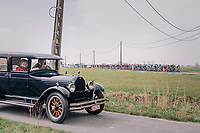 An automobile from the early era of Gent-Wevelgem coming to greet the race<br /> <br /> 81st Gent-Wevelgem in Flanders Fields (1.UWT)<br /> Deinze > Wevelgem (251km)