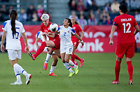CARSON, CA - FEBRUARY 07: Sophie Schmidt #13 of Canada fights for a ball with Gabriela Guillen #2 during a game between Canada and Costa Rica at Dignity Health Sports Complex on February 07, 2020 in Carson, California.