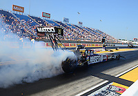 Jul. 1, 2012; Joliet, IL, USA: NHRA top fuel dragster driver Antron Brown during the Route 66 Nationals at Route 66 Raceway. Mandatory Credit: Mark J. Rebilas-