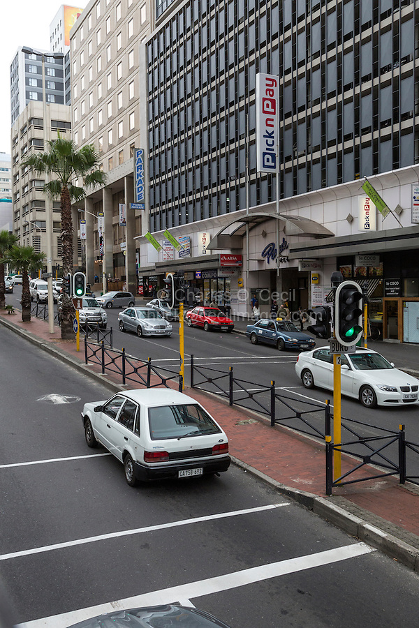 South Africa, Cape Town.  City Center Street Scene.  Pick n Pay Retail Store, selling groceries, clothing, and general merchandise.