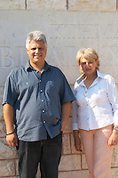 Tsaktsarlis Vassilis, owner winemaker oenologist and Annegret Stamos, export manager. Biblia Chora Winery, Kokkinohori, Kavala, Macedonia, Greece