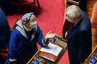 The senator Emma Bonino and the centrist senator Mario Monti during the information at the Senate about the government crisis.<br /> Rome(Italy), January 19th 2021<br /> Photo Pool Stefano Carofei/Insidefoto