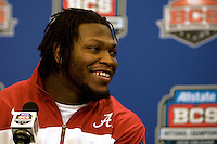 Alabama linebacker Courtney Upshaw smiles while talking with the reporters during BCS Championship Alabama Defensive Press Conference at Marriott Hotel at the Convention Center in New Orleans, Louisiana on January 7th, 2012.