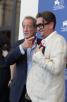 """VENICE, ITALY - SEPTEMBER 10: Vincent Lindon (L), at the photocall for """"Un Autre Monde"""" during the 78th Venice International Film Festival on September 10, 2021 in Venice, Italy. <br /> CAP/GOL<br /> ©GOL/Capital Pictures"""