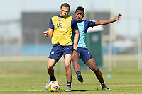 BRADENTON, FL - JANUARY 19: Hassani Dotson, Andres Perea battle for a ball during a training session at IMG Academy on January 19, 2021 in Bradenton, Florida.